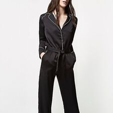 Womens RiverIsland New Black Satin Belted Jumpsuit Buttoned shirt style Size 12