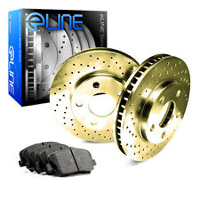 2004-2010 Toyota Sienna Front Gold Drilled Brake Disc Rotors & Ceramic Brake Pad
