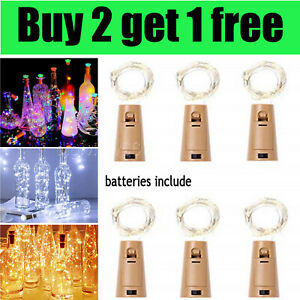 Wine Bottle Fairy String Lights Battery Cork Shaped Xmas Wedding Party 20 LED 2M