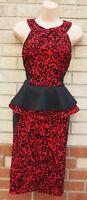 EVITA RED BLACK BAROQUE VELVET GLITTER SHIMMER PEPLUM BODYCON PARTY DRESS 12 M