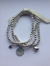 Stacking Bracelets Star, Heart & 'Love' disc Silver Plated Beaded Handmade
