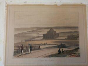 ORIGINAL COLOURED AQUATINT BY WILLIAM DANIELL - OVINGTON NEAR BRIGHTON-1823