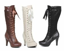 Ladies Victorian Boots Lace Brown Black White 6 7 8 9 10 Ellie Mary Steampunk Go
