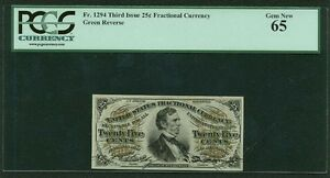 "U.S. 1864-69 25 CENTS FRACTIONAL CURRENCY FR-1294 CERTIFIED BY PCGS ""GEM NEW 65"""