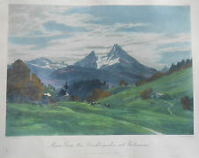 fine antique colored print Mt Watzmann by Edward Harrison Compton