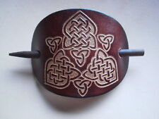 XMAS BIRTHDAY GIFT Hand Made Celtic Leather Hair Slide in [ BROWN ] H2 BARRETTE