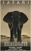SAFARI TRAVEL ART PRINT - Serengeti by Steve Forney 27x17 Elephant Poster