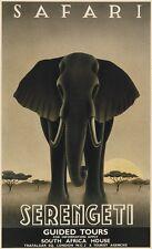 CANVAS SAFARI TRAVEL ART - Serengeti by Steve Forney Elephant South Africa 27x45