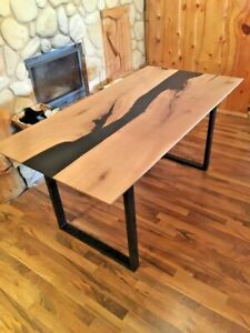 Black Epoxy Live Edge Dinning Table Top 66x30 (inches) 35mm thickness (TOP ONLY)