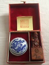 Vintage Chinese Carved Stone Stamp - Red Ink - Box Set - Marietta Stamp