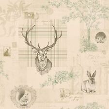 Olive Linen 98011 Nature Check Tartan Stag Trees Calligraphy K2 Holden Wallpaper