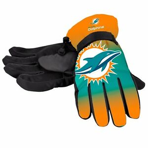 Miami Dolphins Gloves Big Logo Gradient Insulated Winter NEW Unisex S/M L/XL