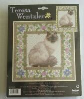 "VINTAGE Teresa Wentzler ""Tapestry Cat"" Counted Cross Stitch Kit 1139-59 USA made"