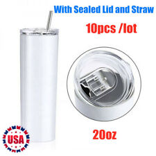 10pcs Sublimation Blank 20oz skinny tumbler double wall insulated with Straw