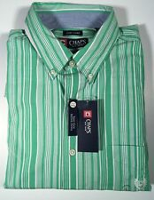 Chaps Easy Care Button Down Men's Long Sleeve Green White Stripe Large NWT