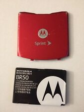 Original Oem, Motorola V3 V3m V3c Razr Red Sprint Battery & Back Cover Rear Door