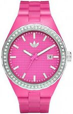 New Adidas Cambridge Glitz Women Date Pink Rubber Band Watch 45mm ADH2103 $85