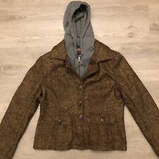 Blanc Noir Womens Hoodie Coat Jacket Blend Brown Gray Full Zip Button Size XL