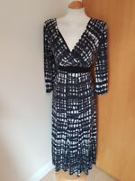ladies PER UNA dress size 10 black white LONG TALL stretch