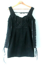Punk Rave sz 14 Black Lace Up Sleeve Dress