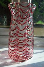 Large Vintage Nailsea Style Vase with Clear with Red Swags - Looped Pulled Swag