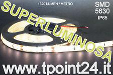STRISCIA LED 5METRI SMD5630/300LED COLORE BIANCO CALDO IMPERMEABILE