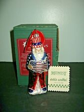 Slavic Treasures Blown Glass Christmas Ornament Patriotic Santa w/Box &Tag