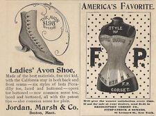 1890 Ads America's Favorite F. P. Corset Bridgeport Co.-Avon Shoe Jordan Marsh