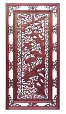 Chinese Oriental Rectangular Vertical Birds Wood Wall Panel cs1362-3