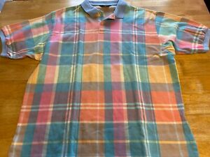 Brooks Brothers XL Cotton Multicolor Short Sleeve Polo Shirt Made In USA A28