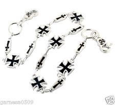 """Simple Iron Cross Symbol Biker Trucker Key Jean Wallet Chain CS12 (26.5"""") Silver"""