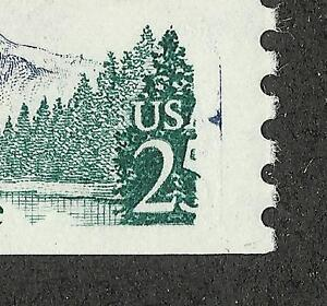 US # 2280 (1988) 25c, MNH, Yosemite, EFO: 5 of 25 cent gone & Red in Blue