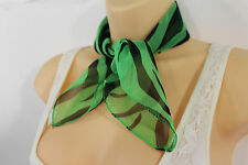 Women Fashion Green Color Neck Tie Scarf Zebra Black Animal Print Pocket Square