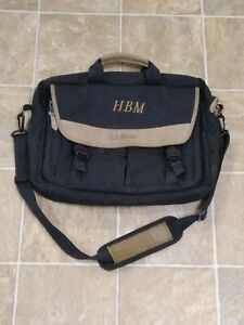 LL BEAN Black Nylon polyester Laptop Messanger bag With Soft Strap Briefcase HD