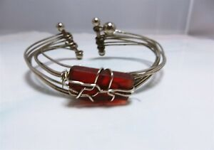 Delightful Hand Made Sea Glass Silver Plated Cuff Style Bracelet