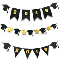 2019 Graduation Trencher Cap Glitter Bunting Garland Party Banner Decor Supplies