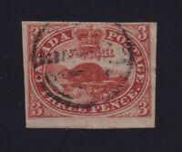 Canada Sc #4ii (1852-5) 3d orange red Beaver F-VF Used