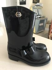 RED Valentino NEW Bow Black Gloss Rubber Rainboot Womens 41 11 Mid-Calf Boots