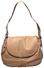 New With Tag B.Makowsky Pick Stitch Flap Shoulder Bag Coral Sand Leather BM42325