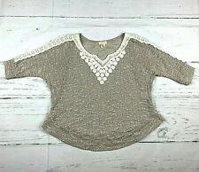Meadow Rue Anthro womens XS beige 3/4 sleeve crochet lace loose knit sweater