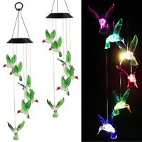 Color Changing LED Solar Powered Hummingbird Wind Chime Lights Yard Garden Decor