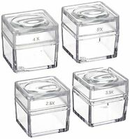 "2.5X  3.5X  4X  5X Snap-On Magnifier Cubes 1.5"" Dia Set of 4"