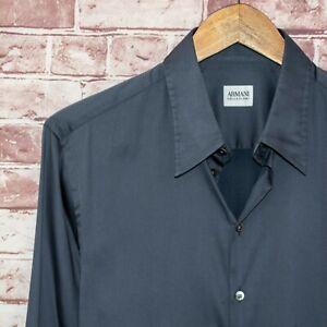 ARMANI Collezioni Men's Button up Shirt Blue Gray Cotton Nylon Blend Sz Large