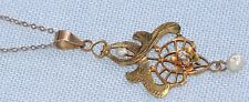 Art Nouveau Edwardian 10k Yellow Gold Diamond Seed Pearl Lavalier Necklace