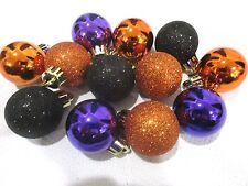 "(12) Halloween Mini Glitter Plastic Purple Orange Ball Ornaments 1.75"" Decor"