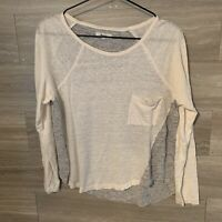 Madewell Curveball 100% Linen Size L Cream and Gray Colorblock Pocket Tee Top