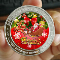 Merry Christmas Santa Claus 1 oz .999 Fine Silver Round Bar Bullion Xmas Gift