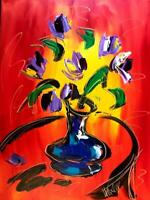 AMAZING  Flowers   SIGNED  Abstract Modern CANVAS Original  Painting  NO RESERVE