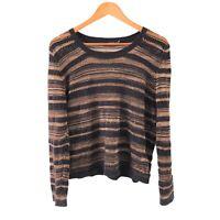 Portmans Striped Knit Jumper Size M Black Gold Long Sleeve Crew Neck