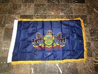 3x5 Pennsylvania State Poly Nylon Sleeve w/ Gold Fringe Flag 3'x5' Banner